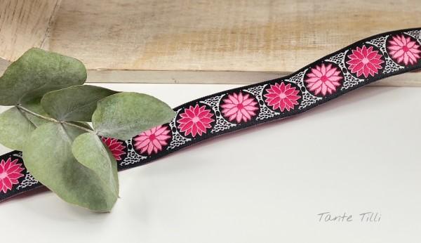 Reststück 0,77 m - Webband Blume pink 24 mm