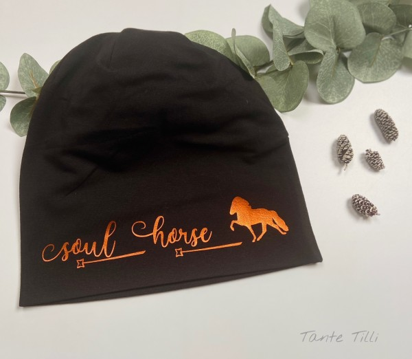 Mütze schwarz- Einheitsgröße - Soul Horse metallic orange