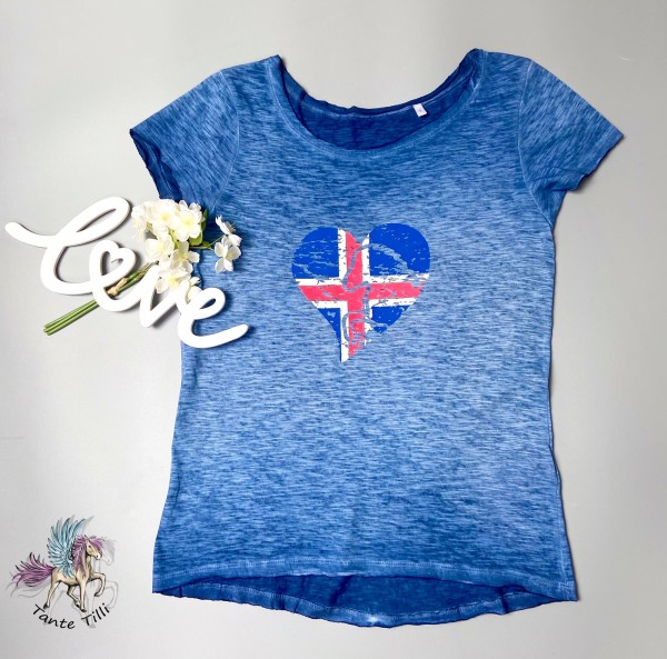 T Shirt # Gr. M # blau meliert # Flaggenherz