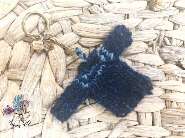 Minischlüsselanhänger gestrickt Islandpullover blau