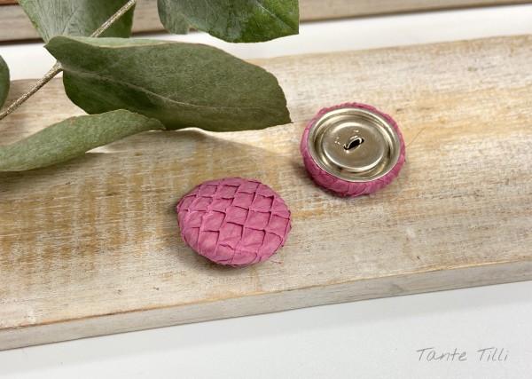 Handgefertigter Knopf pink 23 mm aus Fischleder