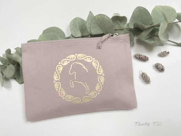 Canvastasche klein- grau gold - Flowertölter