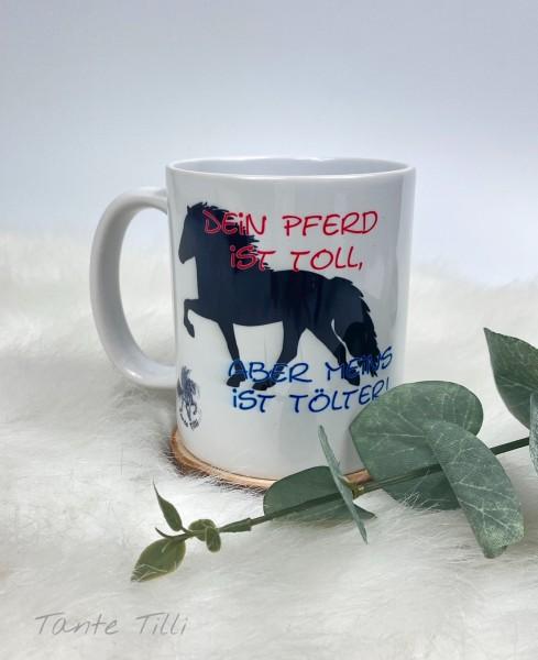 Keramik Tasse handbedruckt Dein Pferd ist....