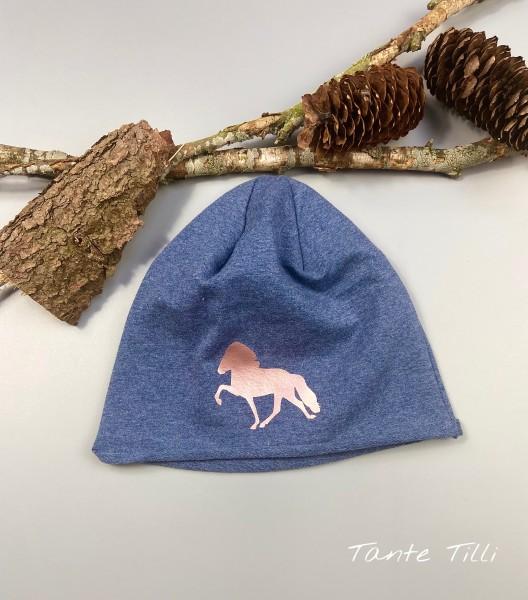 leichte Mütze # Rollrand # jeansblau # Tölter # rosé gold # Einheitsgröße