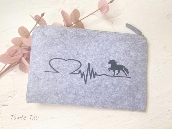 Filztasche groß - grau Herzlinie