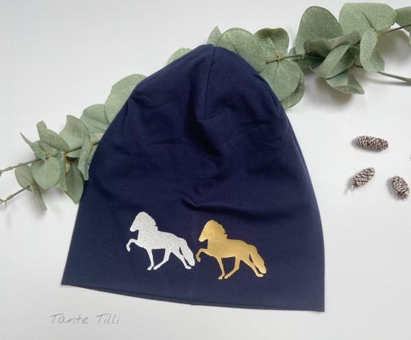 Mütze dunkelblau - Einheitsgröße - 2 er Tölter gold und weiß Glitzer