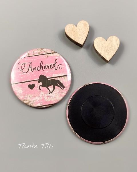 Button Kühlschrank Magnet - Anchored by Love pink