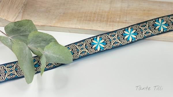 Reststück 1,9 m - Webband Ornamente türkis, weiß, schwarz 24 mm