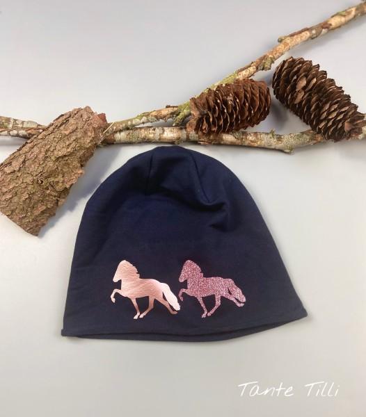 Leichte Mütze mit Rollrand Einheitsgröße Zweiertölter rosé gold