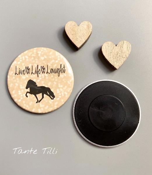 Button # Kühlschrank # Magnet # Live Laught Glitter