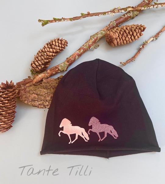 leichte Mütze # Rollrand # dunkelblau # Zweiertölter # rosé gold # Einheitsgröße