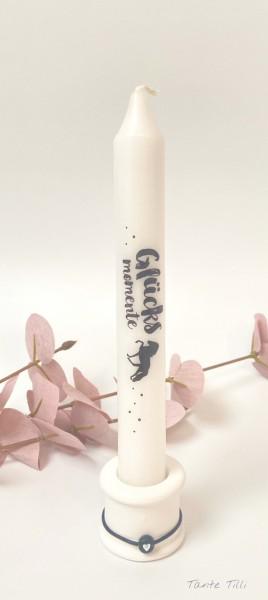Kerze mit Kerzenhalter - Glücksmomente Tölter