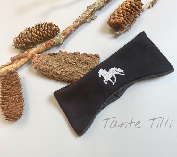 warmes Stirnband in schwarz mit gesticktem Islandpferd