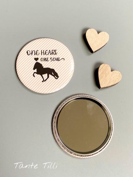 Button # Handspiegel # One heart one Soul # 59 mm # Streifen