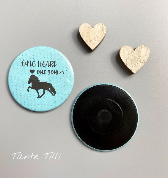 Button # Kühlschrank # Magnet # One Heart one Soul türkis