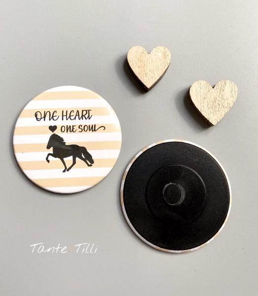 Button # Kühlschrank # Magnet # One Heart one Soul gestreift