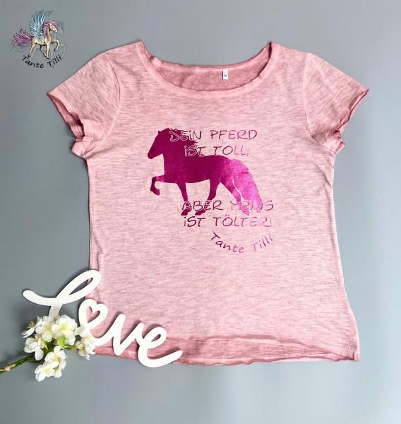 T Shirt Gr. M in rosa meliert mit Dein Pferd ist....