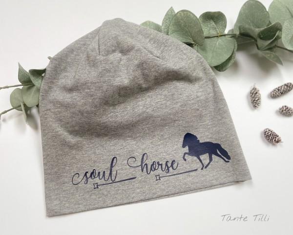 Mütze hellgrau - Einheitsgröße Soul Horse dunkelblau