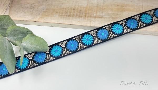 Reststück 2 m - Webband Blume türkis blau, weiß, schwarz 24 mm