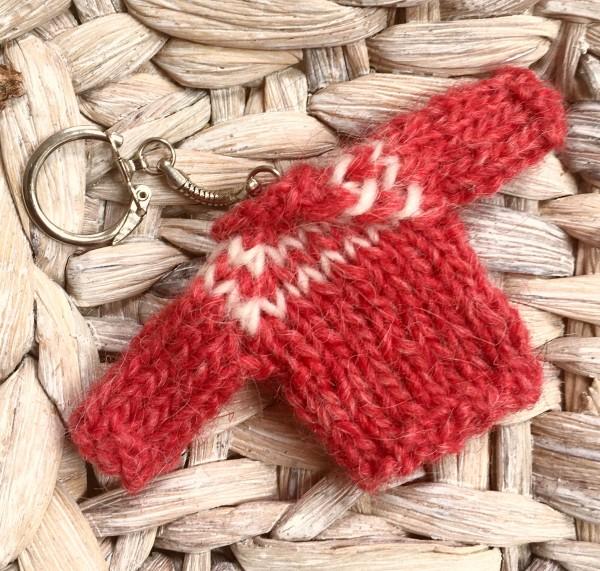 Minischlüsselanhänger # gestrickt # Islandpullover # rot