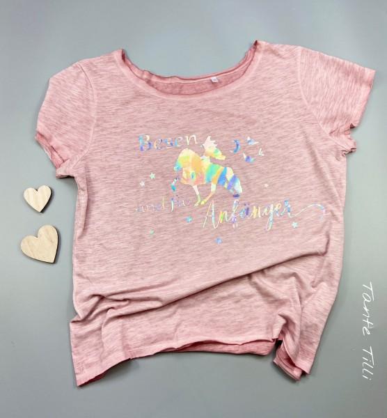 T Shirt # Gr. XL # rosa meliert # Besen sind für Anfänger