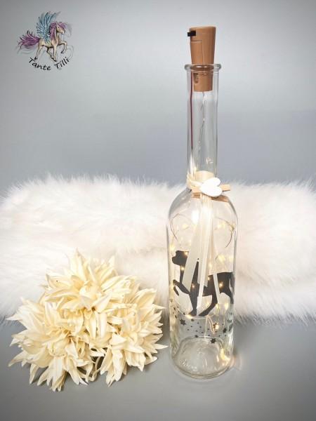 Flaschenlicht # groß 1000 ml # Sternentölter # anthrazit Glitzer # beige