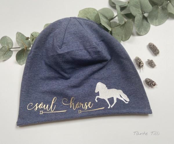Leichte Mütze mit Rollrand denim blau - Einheitsgröße Soul Horse gold/weiß Glitzer