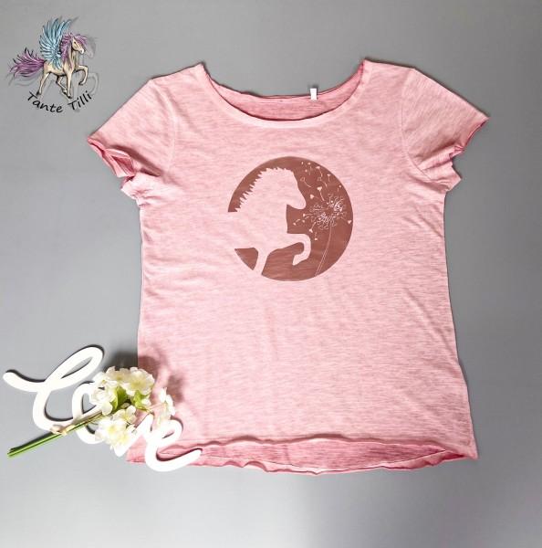 T Shirt Gr. M in rosa meliert mit Pusteblumenisi