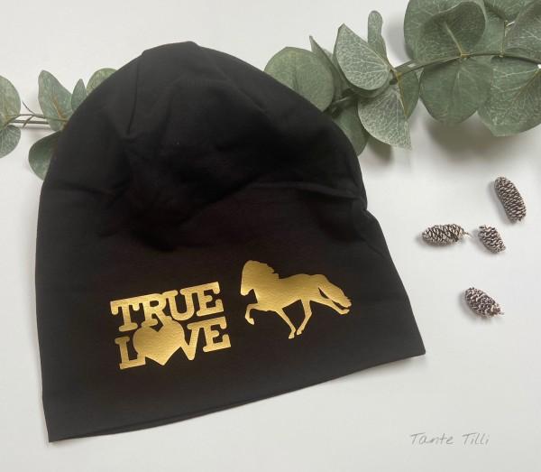 Mütze hellgrau - Einheitsgröße True Love schwarz- gold