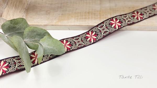 Reststück 0,77 m - Webband Blume rot 24 mm