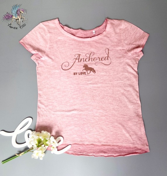 T Shirt # Gr. L # rosa meliert # Anchored by Love