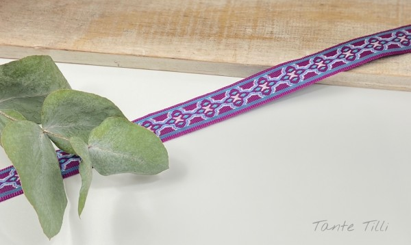 Webband Celtic lila, türkis, weiß 15 mm