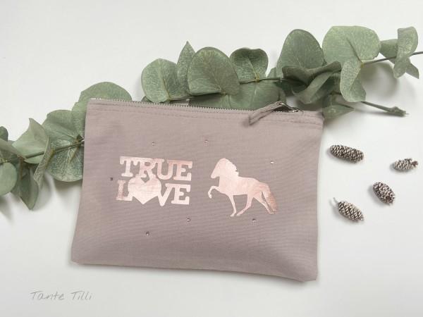 Canvastasche klein- creme-True Love in rosé gold mit Glitzersteinen