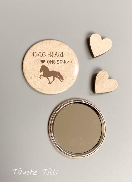 Button # Handspiegel # One heart one Soul braun # 59 mm