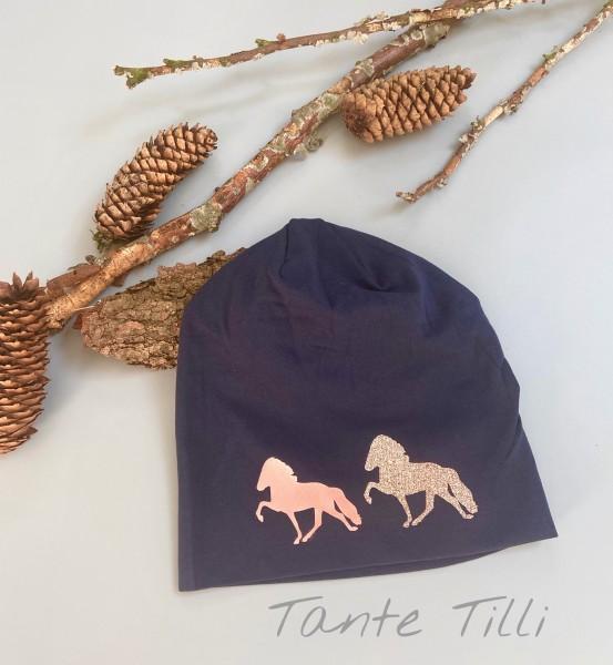Mütze #dunkelblau # Zweiertölter # rosé gold # Einheitsgröße