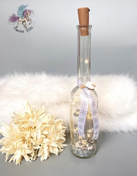 Flaschenlicht # groß 780 ml # Sternentölter # silber Glitzer # Eiskristallband