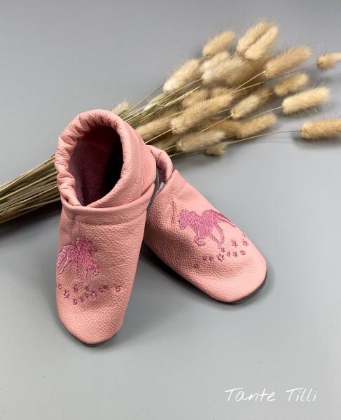 Lederpuschen Gr. 22-23 in rosa mit Sternentölter