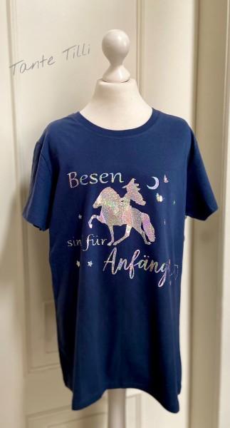 T Shirt # Gr. L # blau # Besen sind für Anfänger