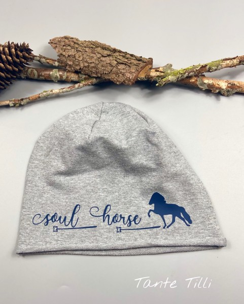 leichte Mütze # Rollrand # grau - blau # Soul Horse # Einheitsgröße