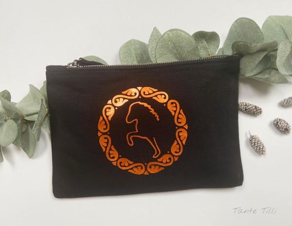 Canvastasche klein- schwarz metallic orange - Flowertölter
