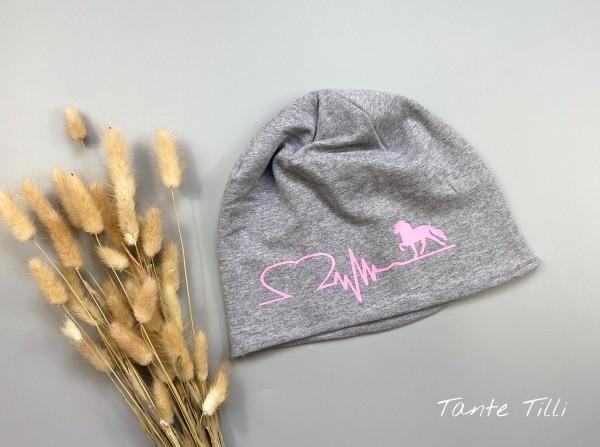 leichte Mütze # Rollrand # hellgrau # Heartbeat rosa # Einheitsgröße