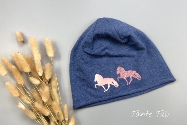 leichte Mütze # Rollrand # jeansblau # zweier Tölter # rosé gold Glitzer # Einheitsgröße