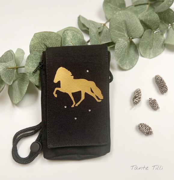 Handyhülle in schwarz - gold mit Tölter und Glitzersteinen