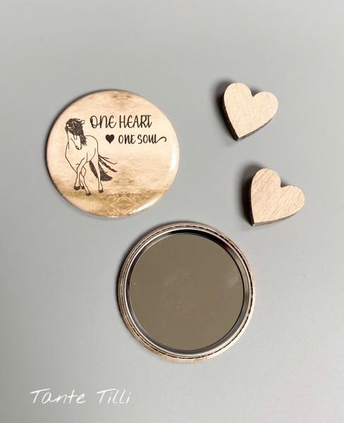 Button # Handspiegel # One heart one Soul braun # 59 mm # Linientölter