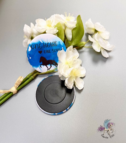 Button # Kühlschrank # Magnet # blau # One Heart one Soul # 59 mm