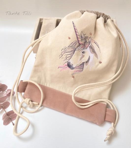 Turnbeutel - Rucksack aufwendig bestickt mit Einhorn