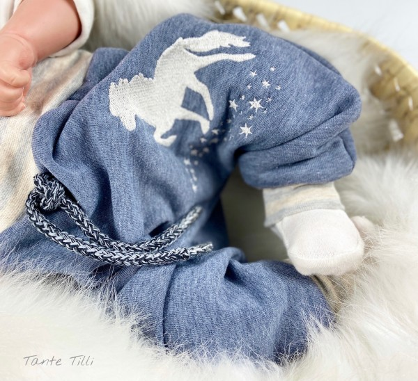 Baggypants blau meliert mit gesticktem Sternentölter - mitwachsend