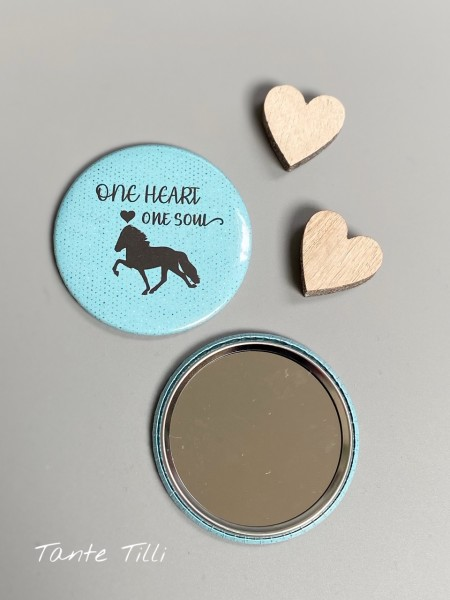 Button # Handspiegel # One heart one Soul # 59 mm # türkis