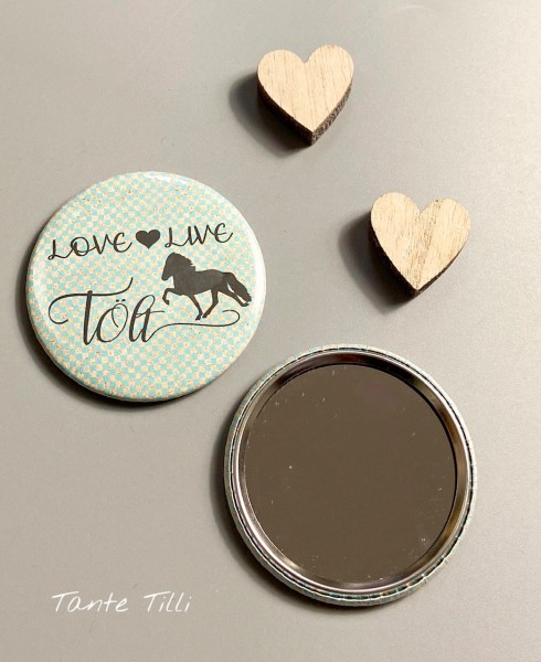 Button Handspiegel - Love live Tölt 59 mm in türkis gold