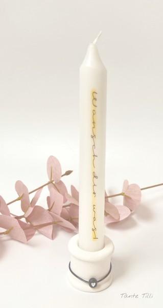 Kerze mit Kerzenhalter - Wünsch dir was